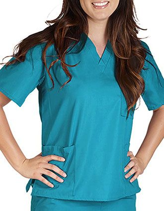 Active Uniforms Unisex Solid V-Neck Petite Scrub Top