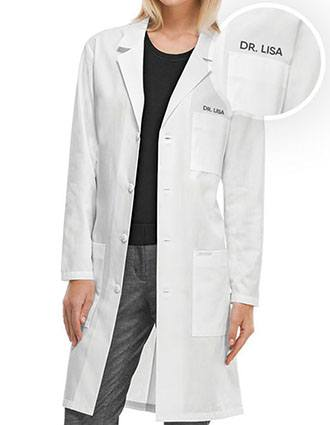 Unisex 40 Inches Free Embroidery Three Pocket Long Lab Coat
