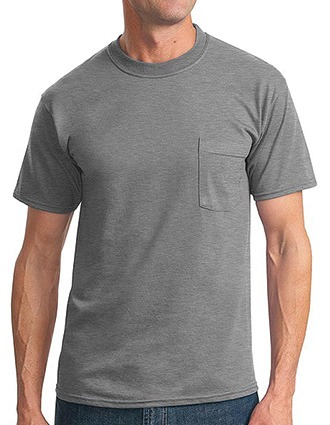 Sanmar JERZEES Men Single Pocket Cotton-Poly Short Sleeved T-Shirt