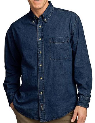Sanmar Port & Company Unisex Long Sleeve Single Pocket Denim Shirt