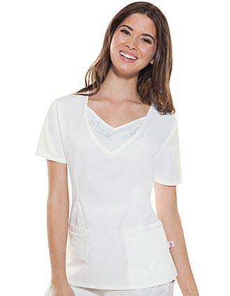 Skechers Women Two Pocket Embroidered V-Neck Nurse Scrub Top