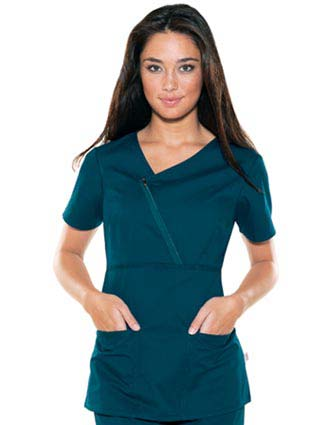 Skechers Women Two Pocket Asymmetrical Zip Mock Wrap Scrub Top