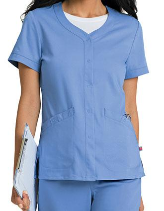 Urbane Women's Megan Snap-Front Short Sleeves Scrub Jacket