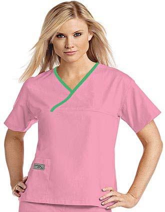 Urbane Womens Classic Single Pocket Crossover Scrub Top