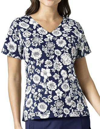 Vera Bradley Halo Women's NETTIE V-Neck Midnight Floral Print Top