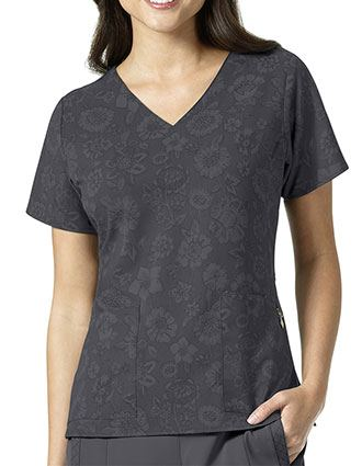Vera Bradley Halo Women's NETTIE V-Neck Midnight Floral Pewter Print Top