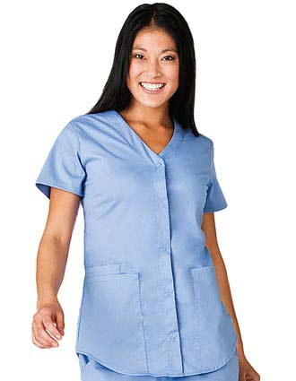 White Swan Fusion Women Snap Front Shirttail Scrub Top