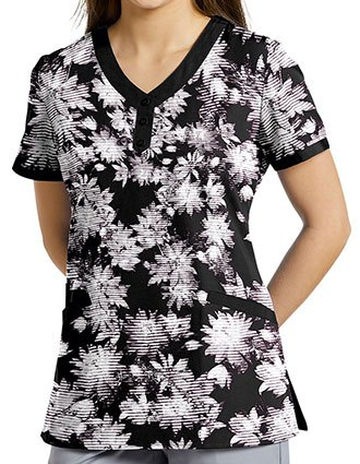 White Cross Women's Floral Shadow Printed V-Neck Top