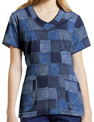 White Cross Women's Denim Forever V-Neck Printed Scrub Top