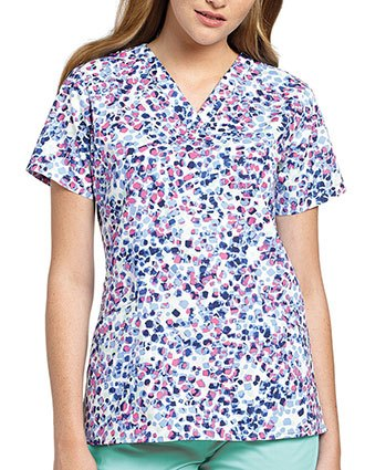 White Cross Womens Mixed Petals V-Neck Angled Pocket Top