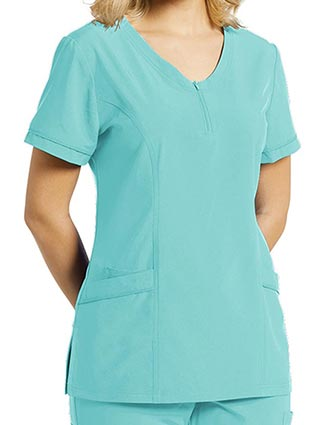 Whitecross Fit Women's Front Zipper Solid Scrub Top