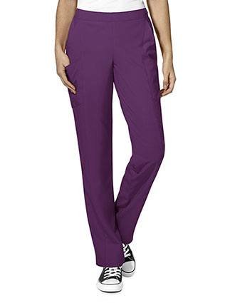 Wonderwink W123 Women's Elastic And Drawstring Waist Flat Front Double Cargo Pant