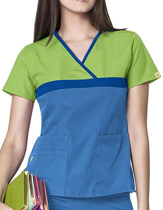 Wink Scrubs Women's Tri-Charlie Mock Wrap block Y-Neck Scrub Top