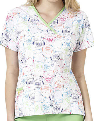 WonderWink Origins Prints Whoos Cute Mock Wrap Y-Neck Scrub Top