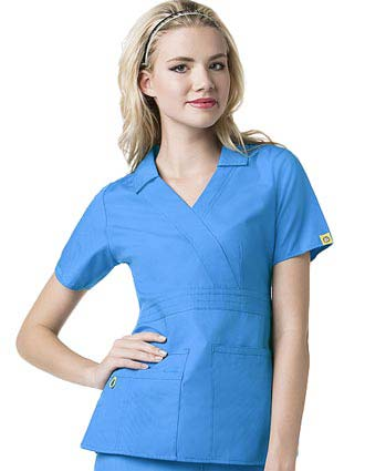 Wink Scrubs Women The Echo Collared Solid Nursing Top