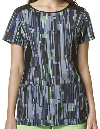 Wonderwink HP Prints Women's Digital Flight Black Boat Neck Top