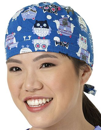 Zoe and Chloe Unisex Whoot Toot Royal Printed Scrub Hat