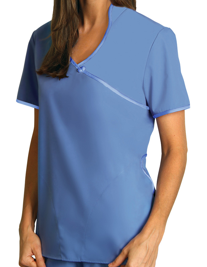 Adar Women Asian Style Contrast Trim Nurse Scrubs