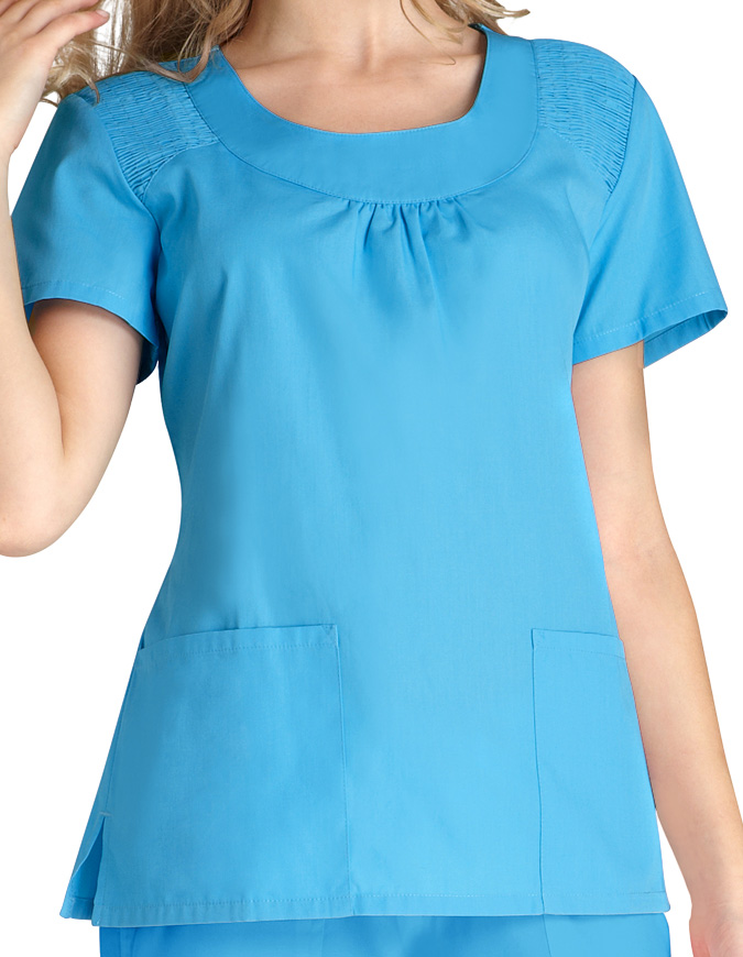 Adar Women Scoop Neck Smocked Solid Nursing Scrub Top