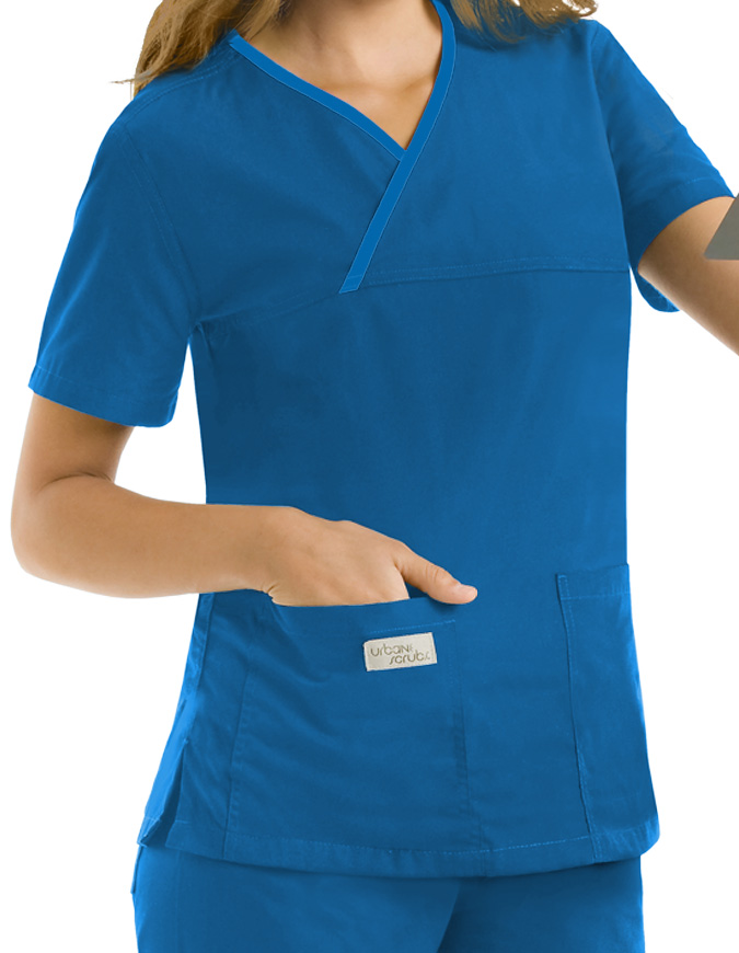 Urbane Womens Double Pocket Crossover Nursing Scrub Top
