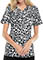 Cherokee Spring Break Double Take Women's Etched Leopard Black V-Neck Knit Panel Top