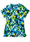 Jockey Scrubs Women's Interpretations Sea Blue Print Mock Wrap Top