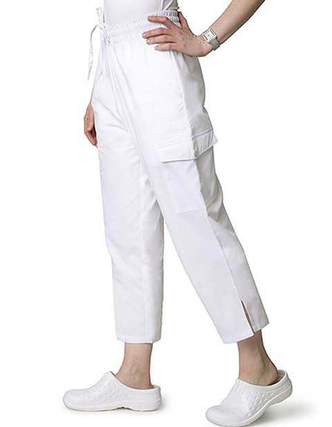 Adar Womens White Two Pocket Cargo Medical Scrub Pants