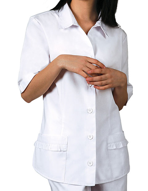 Adar Women Two Pockets Ruffle White Medical Scrubs