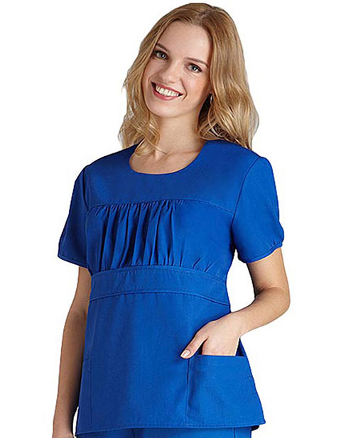 Adar Women Shirred Midriff Solid Nursing Scrub Top
