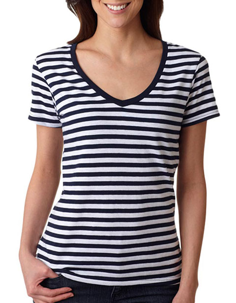 8823 Anvil Ladies' Striped V-Neck Tee