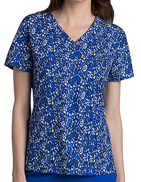 Barco One Women 4-Pocket V-Neck Synergy Cobalt Print Top
