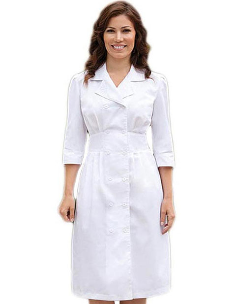 Barco Prima Two Pockets White Embroidered Nurses Dress