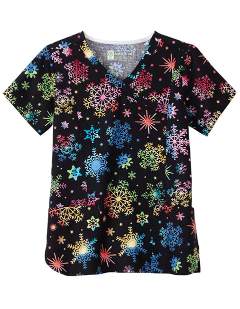 Bio Women'S Rainbow Flakes Print Mockwarp Top