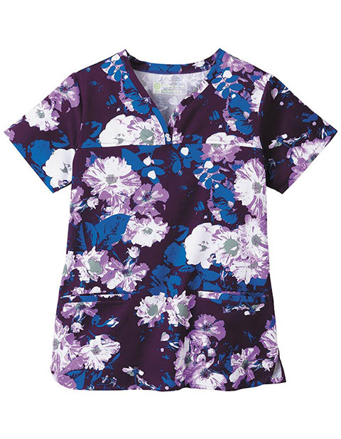 Bio Prints Ladies Shaped Neckline Gilded Flowers Top