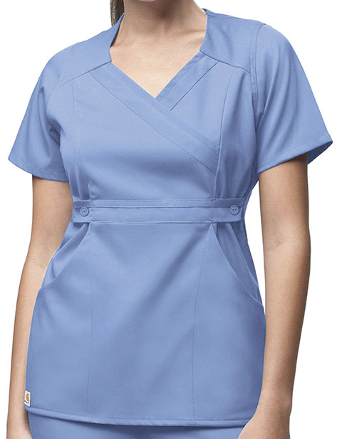 Carhartt Women 3-Pocket Mock-Wrap Scrub Top