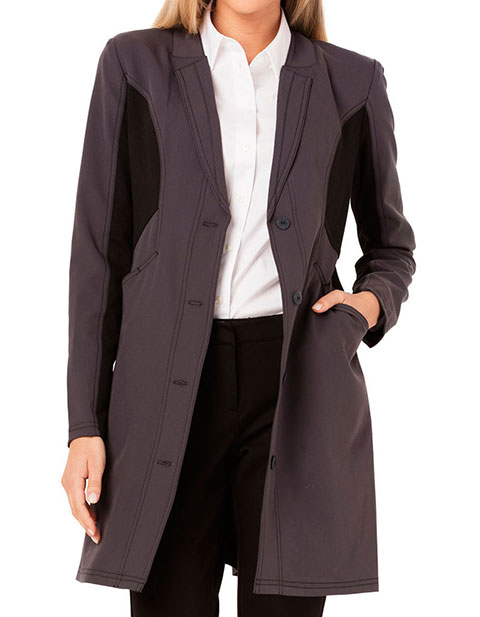 Careisma Fearless Womens 33 Inches Black Contrast Scrub Lab Coat