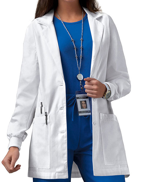 Cherokee Women Knit Cuff 30 Inches Short Medical Lab Coat