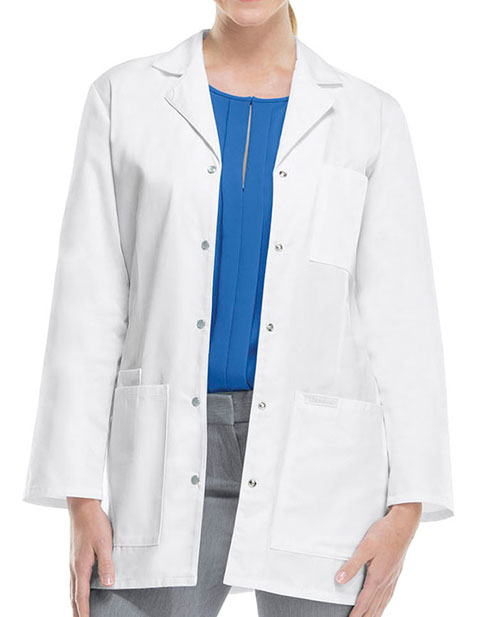 Cherokee Women 32 inch Three Pocket Snap Front Medical Lab Coat