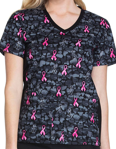 Cherokee Love Is Blooming Women's Printed V-Neck Knit Panel Top