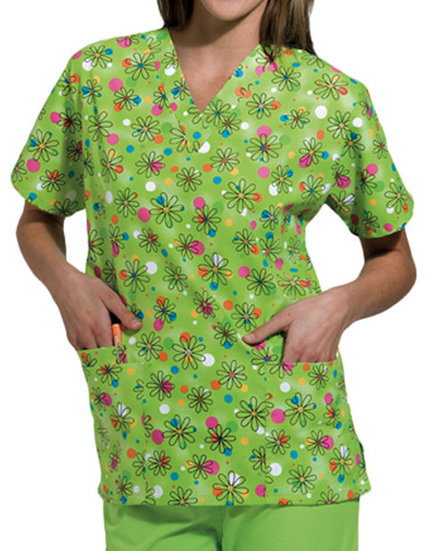 Cherokee HQ Three Pocket Boba Print V-neck Scrub Top