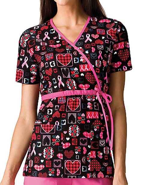 Cherokee HQ Women Caring For The Cause Mock Wrap Scrub Top