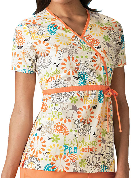 Cherokee HQ Mock Wrap Peace, Love & Paisley Top