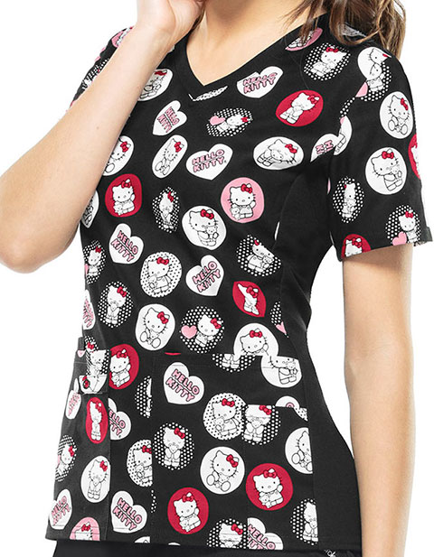 Tooniforms Women's Hello Kitty Hugs V-Neck Knit Panel Top