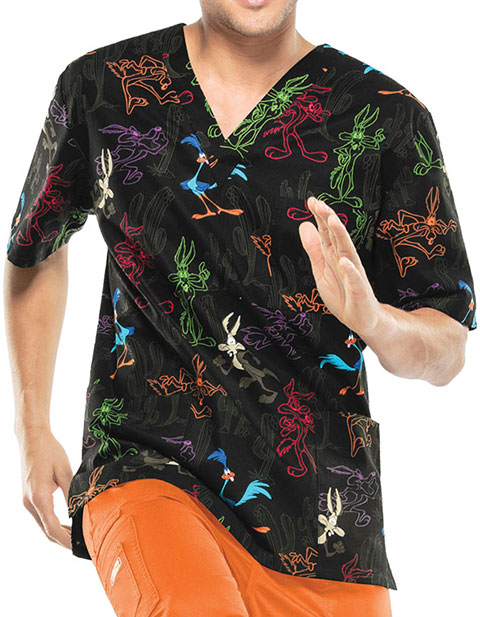 Cherokee Tooniforms Super Genius Printed Unisex V-Neck Scrub Top