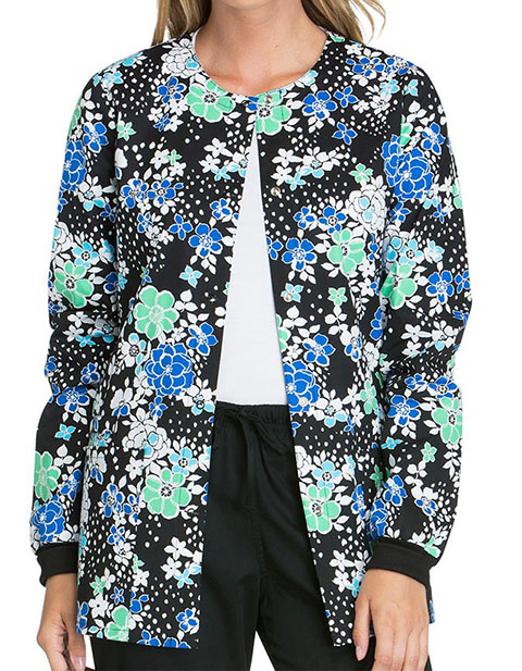 Cherokee Genuine Womens Petal For Your Thoughts print Snap Front Warm-up Jacket.