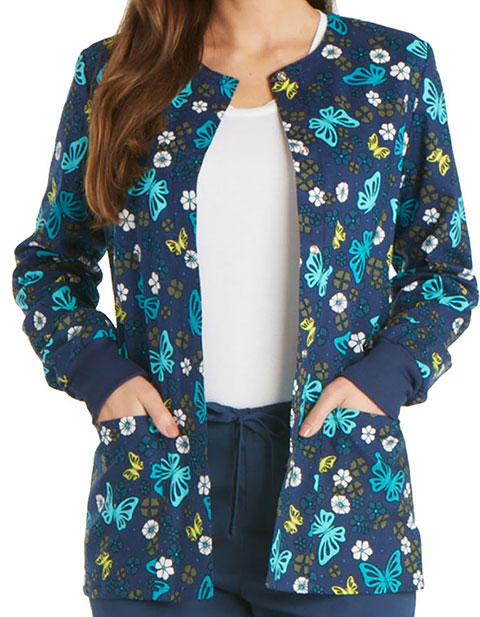 Cherokee Genuine Women's Wing Around The Posy Snap Front Warm-up Jacket