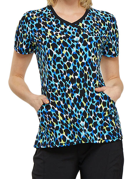 Cherokee Women's Hold My Spot Printed Mock Wrap Top