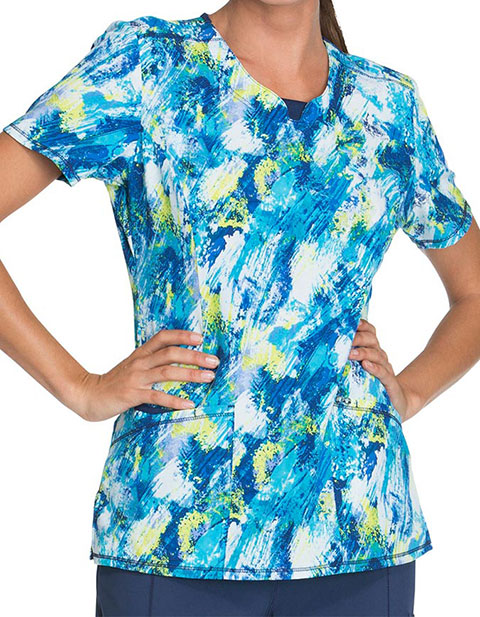 Cherokee Blue Crush Womens Wash It Away Print Round Neck Top