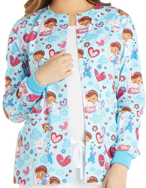 Tooniforms Disney Women's Hugs Are To Heal Snap Front Warm-Up Jacket
