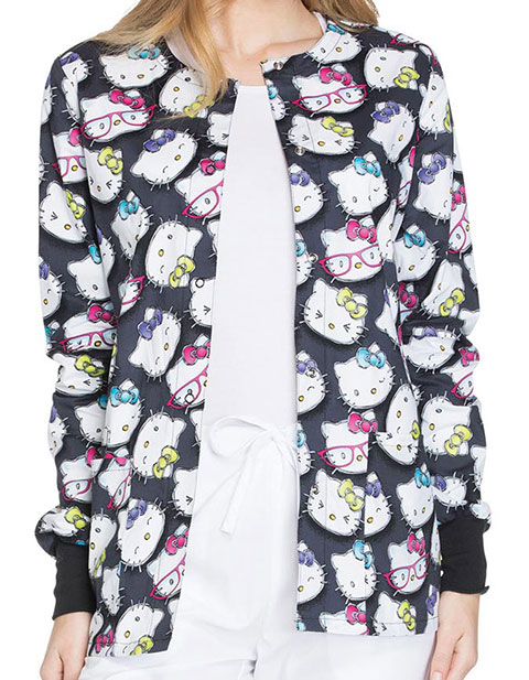 Tooniforms Womens Hello Kitty Glasses Print Snap Front Warm-Up Jacket